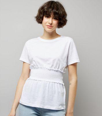 White Shirred Waist T-Shirt