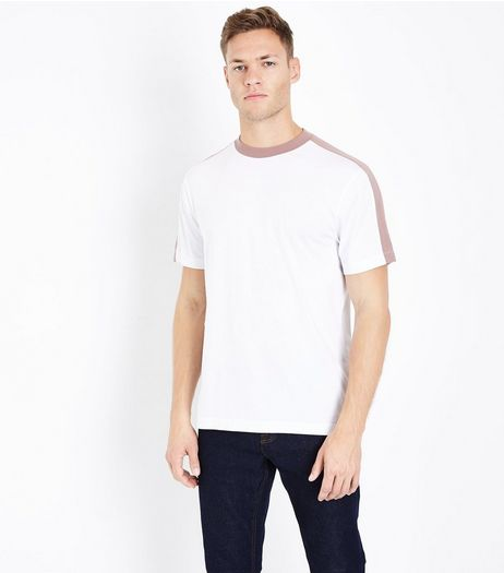 White Contrast Stripe T-Shirt | New Look