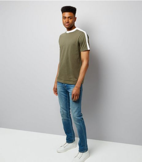 Khaki Contrast Stripe T-Shirt | New Look