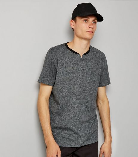 Grey Marl V Neck T-Shirt | New Look