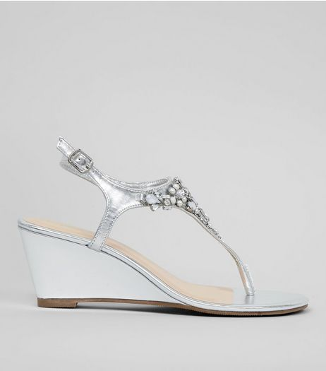 Silver Embellished Wedge Heel Sandals  | New Look