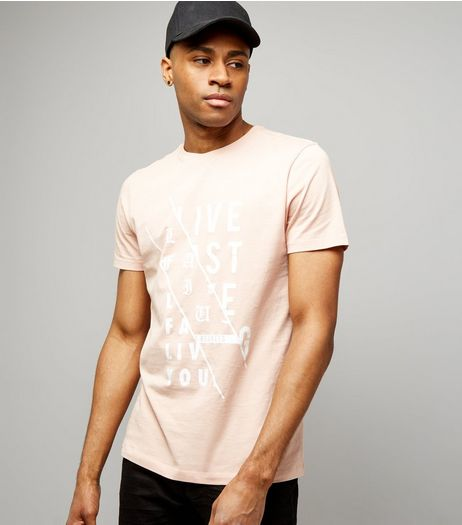 Pink Spliced Print T-Shirt | New Look
