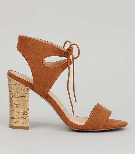 Tan Tie Up Cork Block Heels | New Look