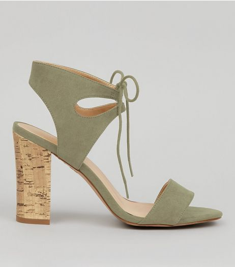 Khaki Suedette Cork Block Heeled Sandals | New Look