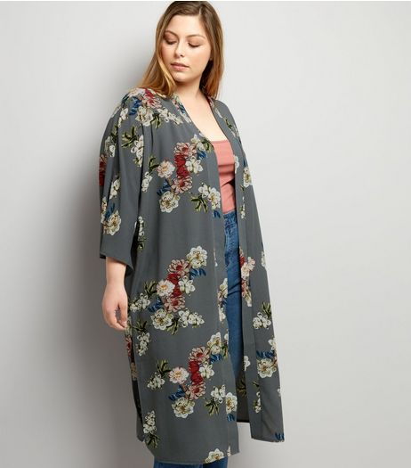 Curves Grey Floral Print Crepe Kimono | New Look
