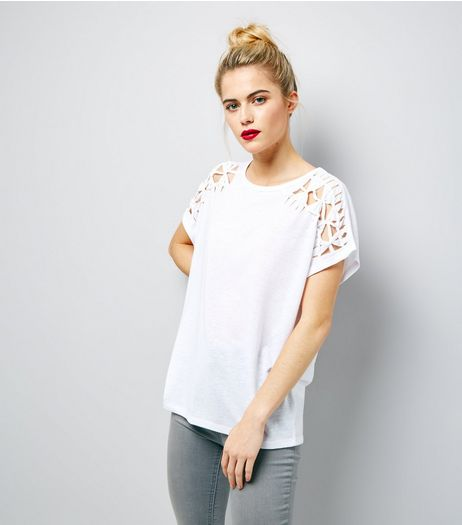 White Cut Out Trim T-Shirt  | New Look
