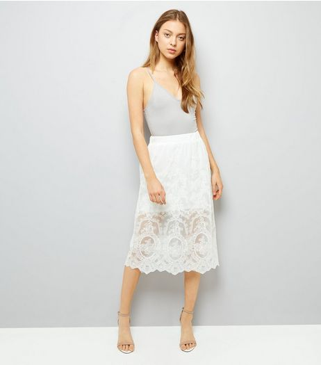 White Lace Overlay Midi Skirt | New Look