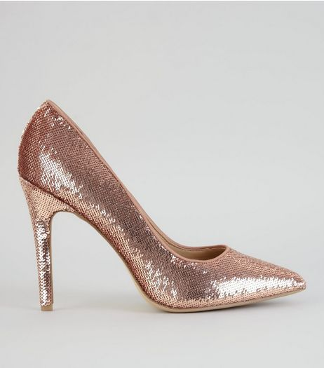 Rose Gold Sequin Pointed Heels  | New Look