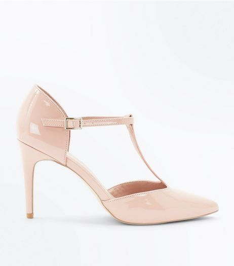 Pink Patent T-Bar Pointed Heels | New Look