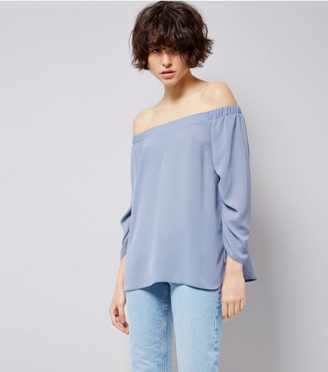 Blue Ruched Sleeve Bardot Neck Top  | New Look