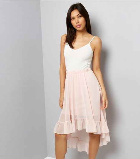 Shell Pink Chiffon Dip Hem Midi Skirt | New Look