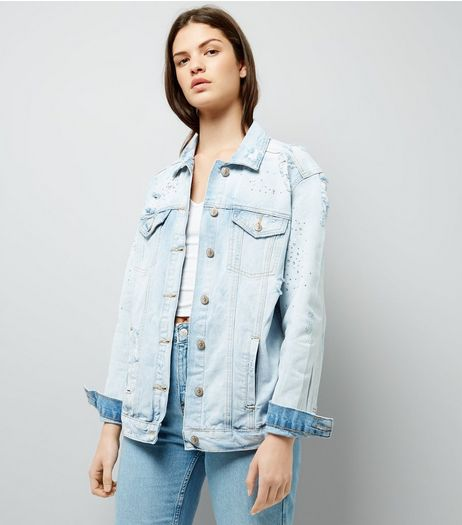Light Blue Mini Stud Denim Jacket | New Look