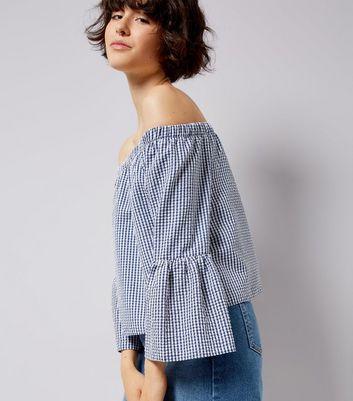 Blue Gingham Bell Sleeve Bardot Neck Top