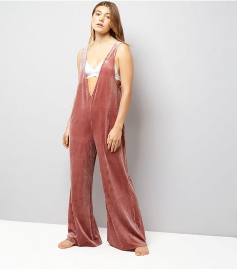 Deep Pink Ribbed Velvet Wide Leg Lounge Jumpsuit | New Look