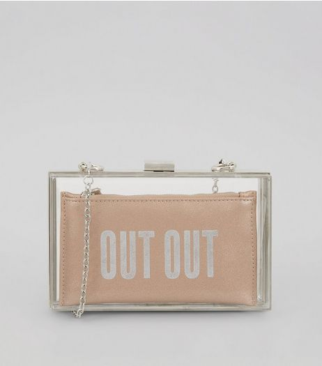 Pink Perspex 2 in 1 'Out Out' Slogan Clutch Bag | New Look