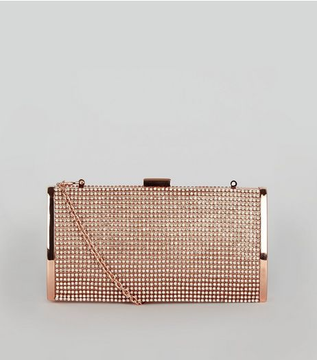 Rose Gold Diamante Clutch | New Look