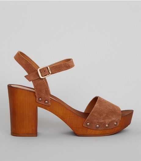 Tan Suede Wooden Platform Block Heeled Clogs | New Look