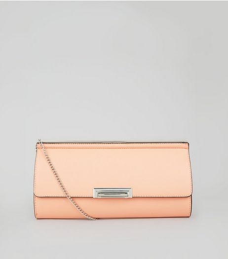 Light Orange Chain Strap Clutch  | New Look