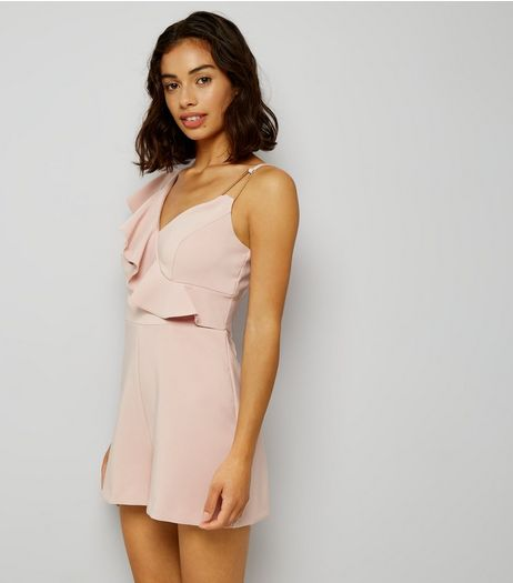 Petite Pink Asymmetric Frill Trim Playsuit | New Look