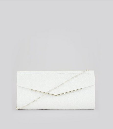 White Lace Clutch Bag  | New Look