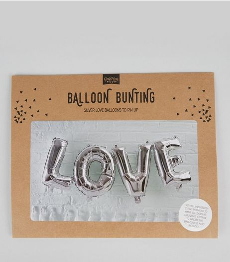 Silver LOVE Balloon Bunting | New Look