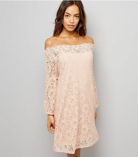 Cameo Rose Shell Pink Lace Bardot Neck Dress  | New Look
