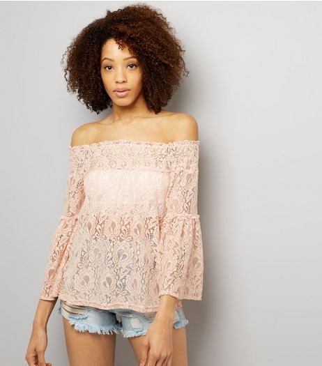 Cameo Rose Pink Lace Bardot Top | New Look