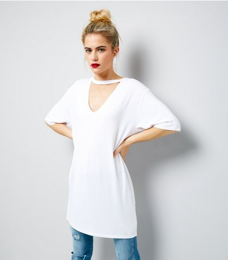 White Choker Neck Tunic | New Look