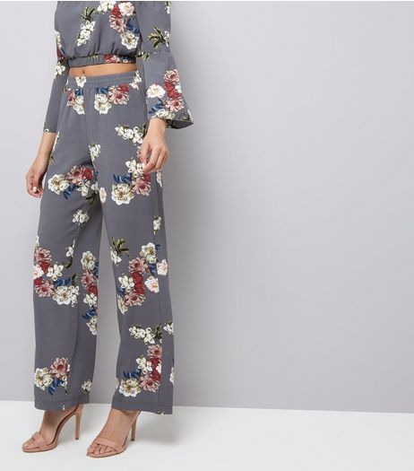Cameo Rose Grey Floral Print Trousers | New Look
