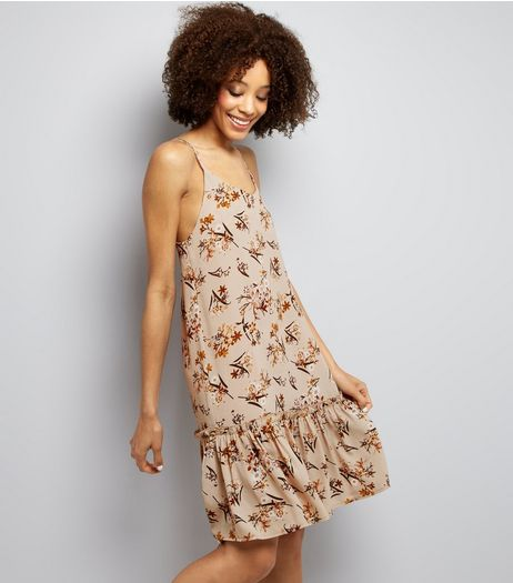 Cameo Rose Stone Floral Print Frill Hem Slip Dress | New Look