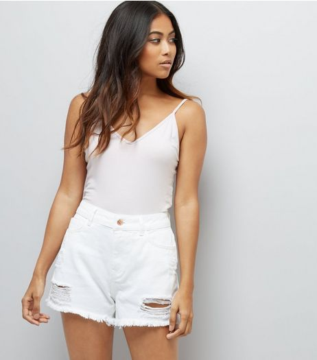 Petite White Ripped Denim Shorts | New Look