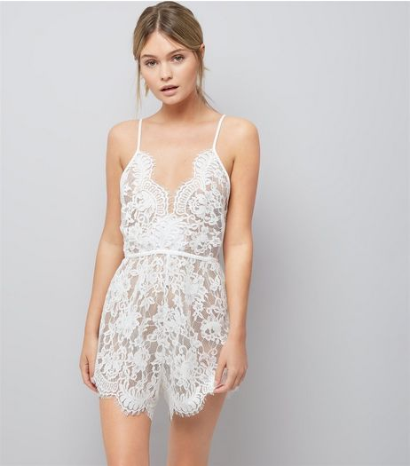 White Bridal Lace Teddy  | New Look