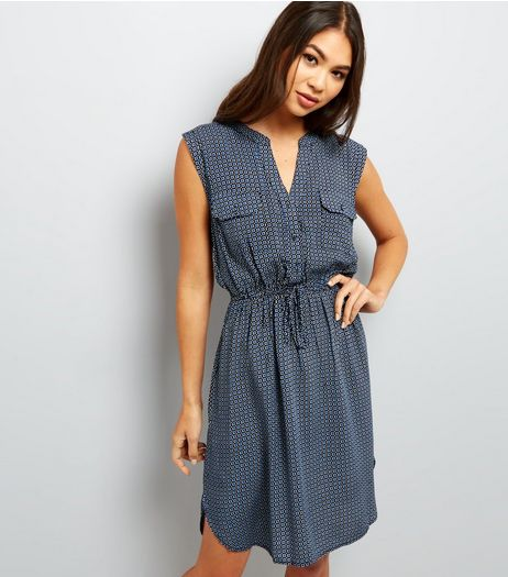 Apricot Blue Tile Print Tie Waist Sleeveless Dress  | New Look