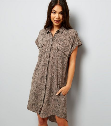 Apricot Stone Abstract Print Shirt Dress  | New Look