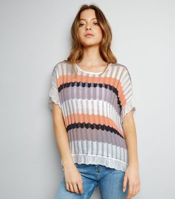 Apricot Cream Stripe Ribbed Oversized Top