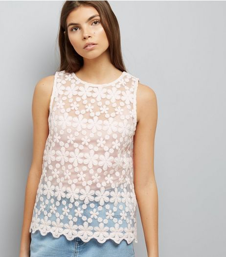 Pink Embroidered Daisy Lace Sleevless Top | New Look