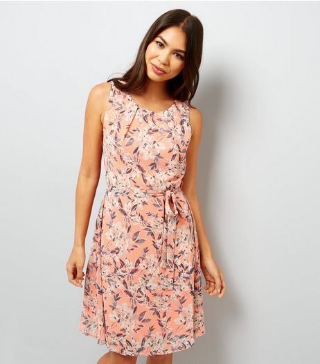 Apricot Orange Floral Print Tie Waist Dress | New Look