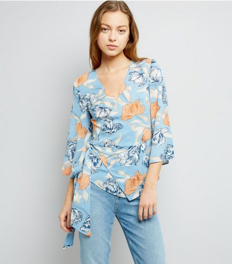 Blue Vanilla Blue Floral Print Wrap Front Top  | New Look