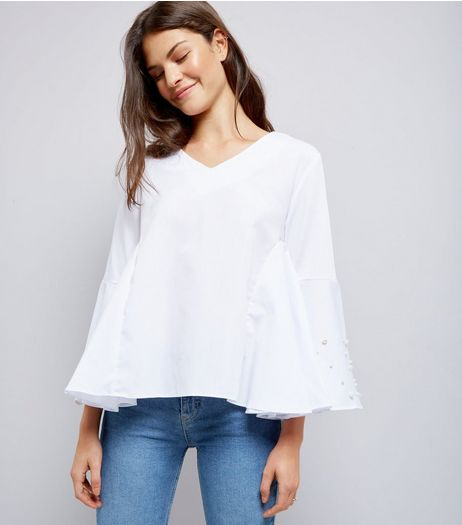 Blue Vanilla White Pearl Trim Flared Sleeve Top  | New Look