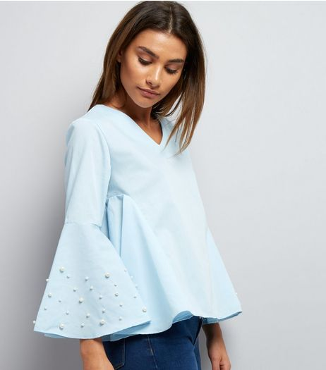 Blue Vanilla Blue Pearl Trim Flared Sleeve Top | New Look