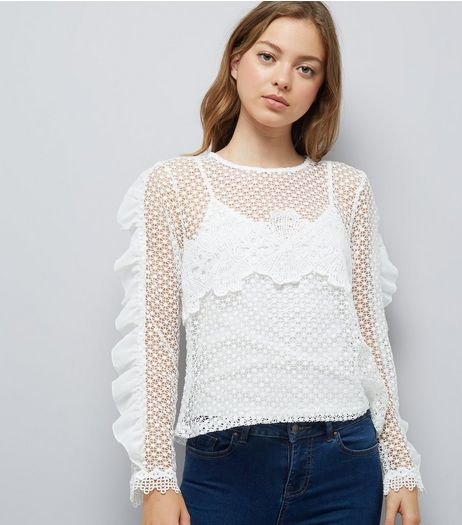 Blue Vanilla White Mesh Cut Out Frill Sleeve Top | New Look
