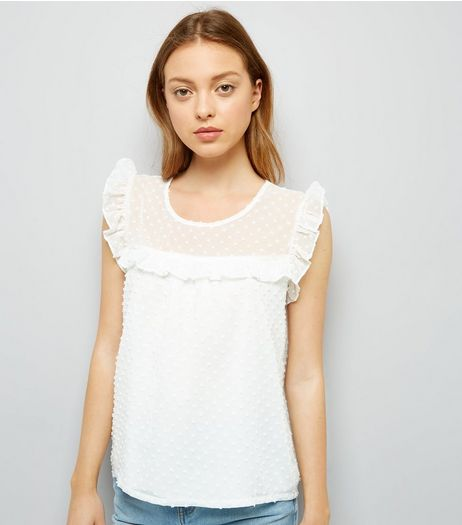 Blue Vanilla White Spot Mesh Top | New Look