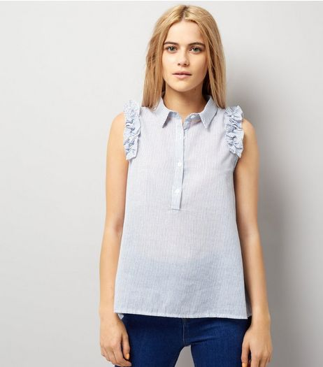 Blue Vanilla Blue Stripe Frill Trim Sleeveless Blouse | New Look