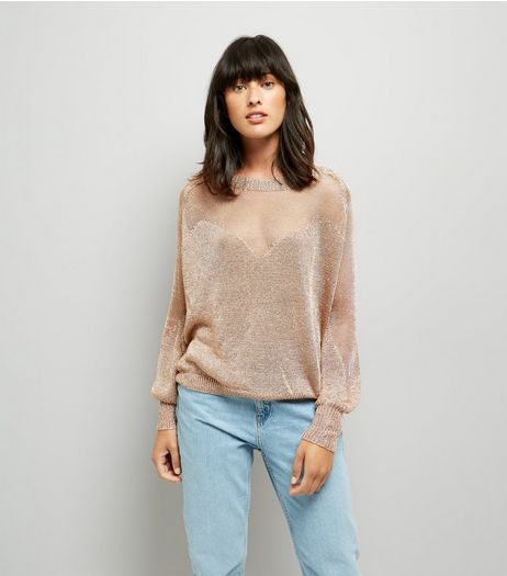 Blue Vanilla Pink Mesh Front Jumper | New Look