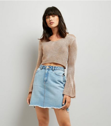 Blue Vanilla Pink Metallic Flared Sleeve Cropped Jumper | New Look