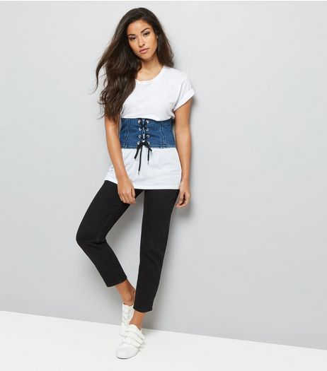 Denim Corset Lace Up Belt | New Look