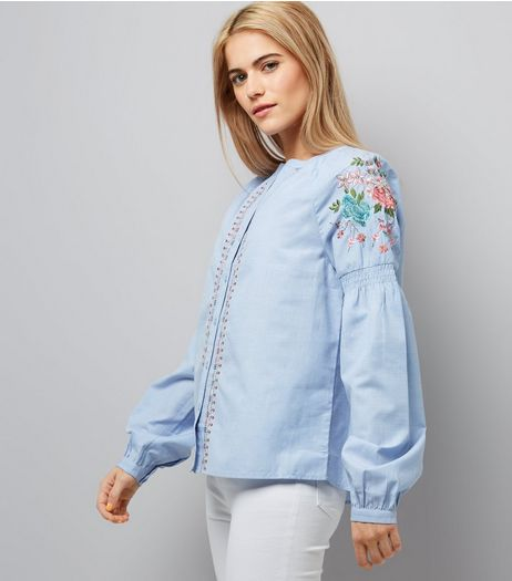 Blue Embroidered Granddad Collar Shirt | New Look