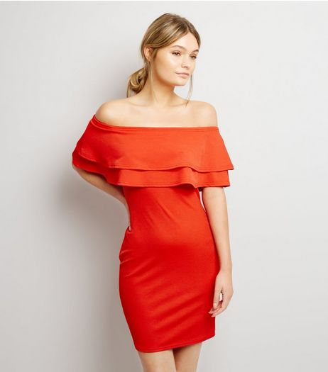 Red Frill Trim Bardot Neck Bodycon Dress  | New Look