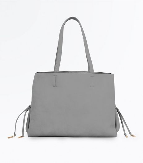 Grey Lace Up Side Tote Bag | New Look