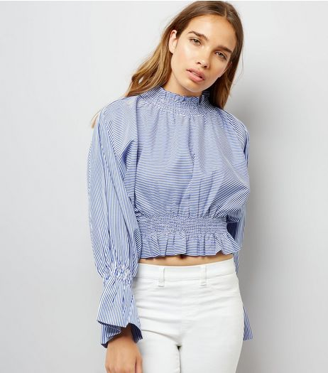 Pink Vanilla Blue Stripe Shirred Waist Top | New Look